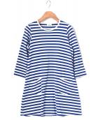 marimekko(マリメッコ)の古着「カットソーワンピース」 ブルー×ホワイト