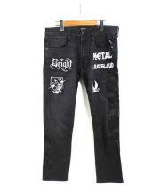 REPLAY(リプレイ)の古着「プリントデニムパンツ」|ブラック