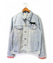 GEO(ジオ)の古着「フロッキーデザインデニムジャケット」|ブルー