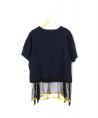 TOGA PULLA(トーガプルラ)の古着「メッシュ切替Tシャツ」|ネイビー