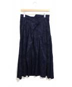 tricot COMME des GARCONS(トリコ コム デ ギャルソン)の古着「フラワー刺繍ロングスカート」|ネイビー