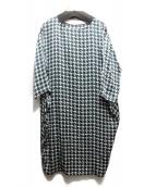 KNOTT(ノット)の古着「シルクハウンドトゥースワンピース」|グリーン