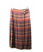 RALPH LAUREN(ラルフローレン)の古着「プリーツラップスカート」|ボルドー×グリーン