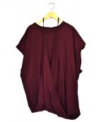 MM6(エムエムシックス)の古着「ショルダーデザインTシャツ」|ボルドー