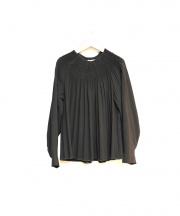 Cathrine Hammel(カトリーネハメル)の古着「ギャザーブラウス」|ブラック