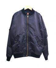 S/DOUBLE(エスダブル)の古着「サテンフライトジャケット」 ネイビー