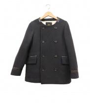 Drawer(ドロワー(ドゥロワー))の古着「ノーカラーショートコート」|ブラック