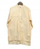 anachronorm(アナクロノーム)の古着「Patchwork Band Collar Shirt/シャ」|ベージュ