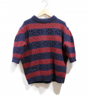 MIU MIU(ミュウミュウ)の古着「ボーダーショートスリーブニット」|ネイビー