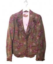 ETRO(エトロ)の古着「フラワージャガードフリルジャケット」|ブラウン