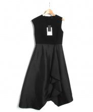 PEELSLOWLY(ピールスローリー)の古着「コンビフレアアシメドレス」|ブラック