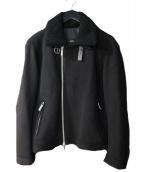 BOSS HUGO BOSS(ボス ヒューゴ ボス)の古着「ボア襟メルトンコート」|ブラック