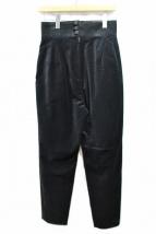 JUN MIKAMI(ジュンミカミ)の古着「ベルベットパンツ」|ブラック
