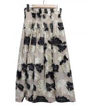 FRAY ID(フレイ アイディー)の古着「フラワージャガードスカート」|ベージュ