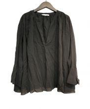 ASTRAET(アストラット)の古着「ボイルスタンドギャザーブラウス」|ブラック