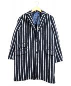 Drawer(ドロワー)の古着「ストライプチェスターコート」|ブラック