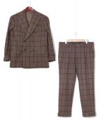 PAIDEIA(パイデア)の古着「チェックダブルスーツ」 ブラウン