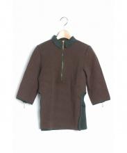 FUMIKA UCHIDA(フミカ ウチダ)の古着「ハーフジップニットポロシャツ」|オリーブ