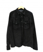 RALPH LAUREN BlackLabel(ラルフローレンブラックレーベル)の古着「レザーウエスタンシャツ」|ブラック