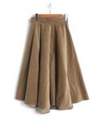 OBLI(オブリー)の古着「コーデュロイフレアスカート」|カーキ