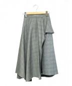 FRAY ID(フレイアイディー)の古着「グレンチェックアシメペプラムスカート」|グレー