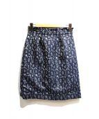 sunauna(スーナウーナ)の古着「フラワージャガードスカート」|ネイビー