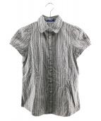 BURBERRY BLUE LABEL(バーバリーブルーレーベル)の古着「ストライプロゴシャツ」|グレー×ホワイト