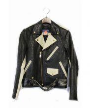 blackmeans(ブラックミーンズ)の古着「ライダースジャケット」|ブラック×アイボリー