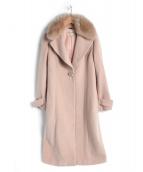 Debut De Fiore(デビュー・ド・フィオレ)の古着「ファー衿付Ladyテーラードコート」|ピンク