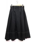 FRAY I.D×Dickies(フレイアイディー × ディッキーズ)の古着「ウエストタックフレアースカート」|ブラック