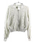 FRAY ID(フレイアイディー)の古着「ケミカルレースMA-1ジャケット」|ホワイト