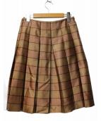 PRADA(プラダ)の古着「プリーツスカート」|ベージュ×ブラウン