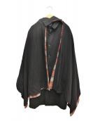 Yohji Yamamoto + NOIR(ヨウジヤマモト プリュス ノアール)の古着「マント付チェスターコート」|ブラック