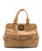LONGCHAMP(ロンシャン)の古着「クロコ型押し2WAYバッグ」|ベージュ