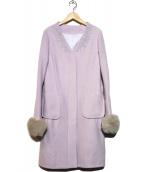 WILL SELECTION(ウィルセレクション)の古着「3Wayエアリークリーミー刺繍コート」|ラベンダー