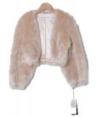 GRACE CONTINENTAL(グレースコンチネンタル)の古着「エコファーショートジャケット」 ピンクベージュ