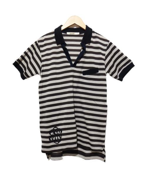 BALENCIAGA(バレンシアガ)BALENCIAGA (バレンシアガ) ボーダーポロシャツ ブラック×ブラウン サイズ:XSの古着・服飾アイテム