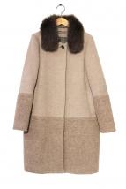 DOUBLE STANDARD CLOTHING(ダブルスタンダードクロージング)の古着「フォックスファー付ノーカラーコート」|ベージュ