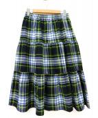 ONEIL OF DUBLIN(オニールオブダブリン)の古着「レッグティアードロングスカート」 グリーン