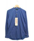 Stevenson Overall Co.(スティーブンソンオーバーオール)の古着「バンドカラーシャツ」|ネイビー
