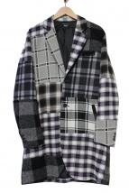 glamb(グラム)の古着「モジュラーチェックコート」|グレー×ネイビー