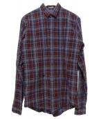 Dior Homme(ディオールオム)の古着「Bee刺繍チェックシャツ」|レッド