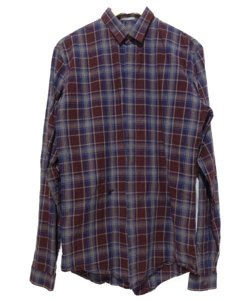 Dior Homme(ディオールオム)Dior Homme (ディオールオム) Bee刺繍チェックシャツ レッド サイズ:38の古着・服飾アイテム