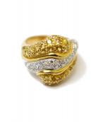 K18&PT900&Diamonds&Yellow sapphire Ring(18金,プラチナ,ダイヤモンド,イエローサファイアリング)の古着「コンビリング」