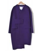 UN3D.(アンスリード)の古着「アシンメトリーブロッキングコート」|パープル