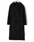 22 OCTOBRE(ヴァンドゥーオクトーブル)の古着「ウールカシミヤ締結リバーマキシコート」|ブラック