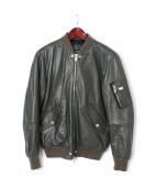 DIESEL(ディーゼル)の古着「レザーMA-1ジャケット」|カーキ