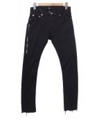 MR.COMPLETELY(ミスターコンプリートリー)の古着「サイドジップデニムパンツ」|ブラック