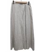 YOSHI KONDO(ヨシコンドウ)の古着「アシンメトリータックリネンマキシスカート」|ベージュ