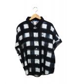 FRED PERRY(フレッドペリー)の古着「オーバーサイズチェックシャツ」|ブラック